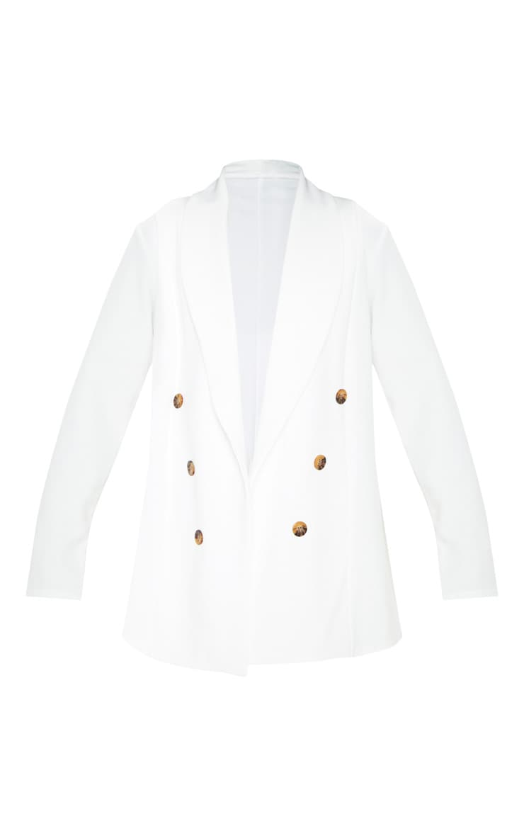White Oversized Button Detail Blazer  3