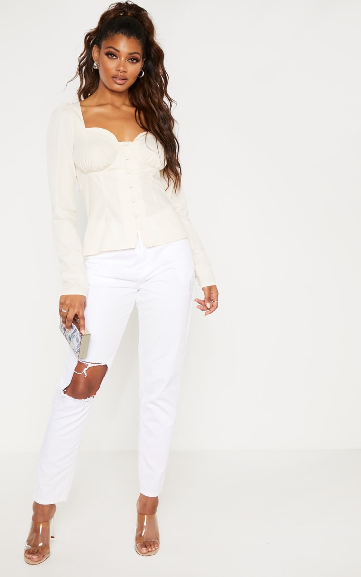 Tall Cream Button Detail Sweetheart Blouse  4