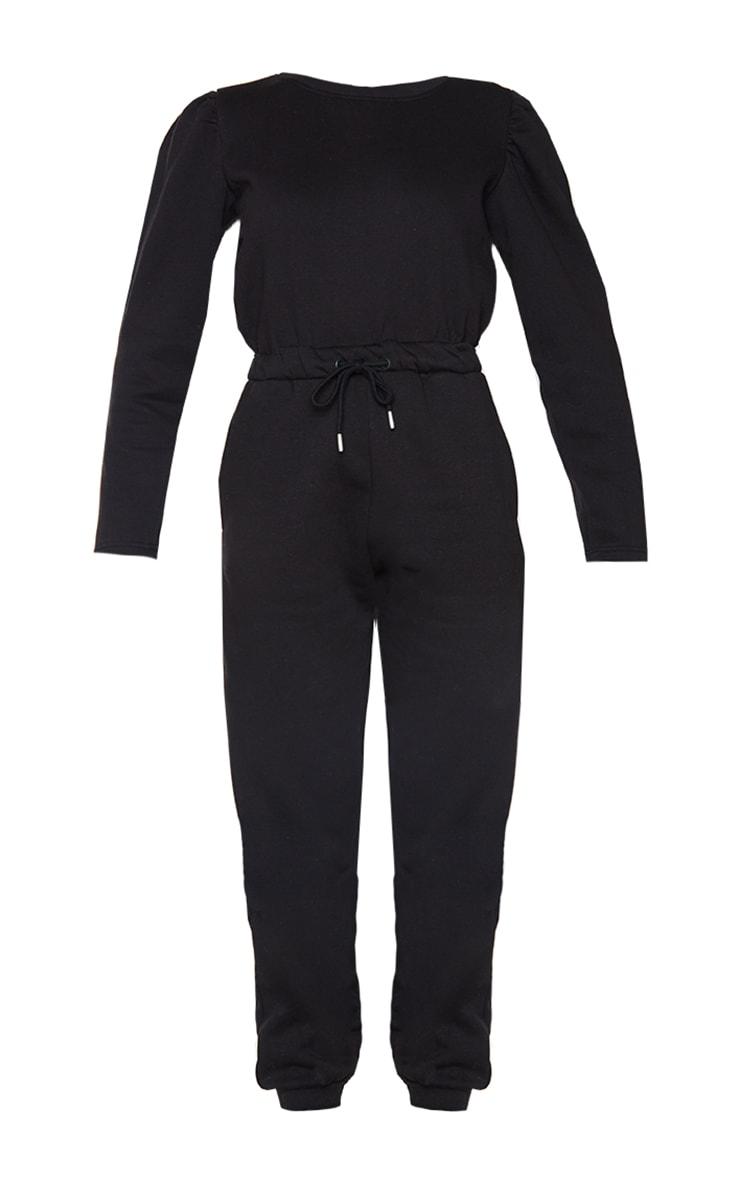Black Puff Sleeve Sweat Jumpsuit 5