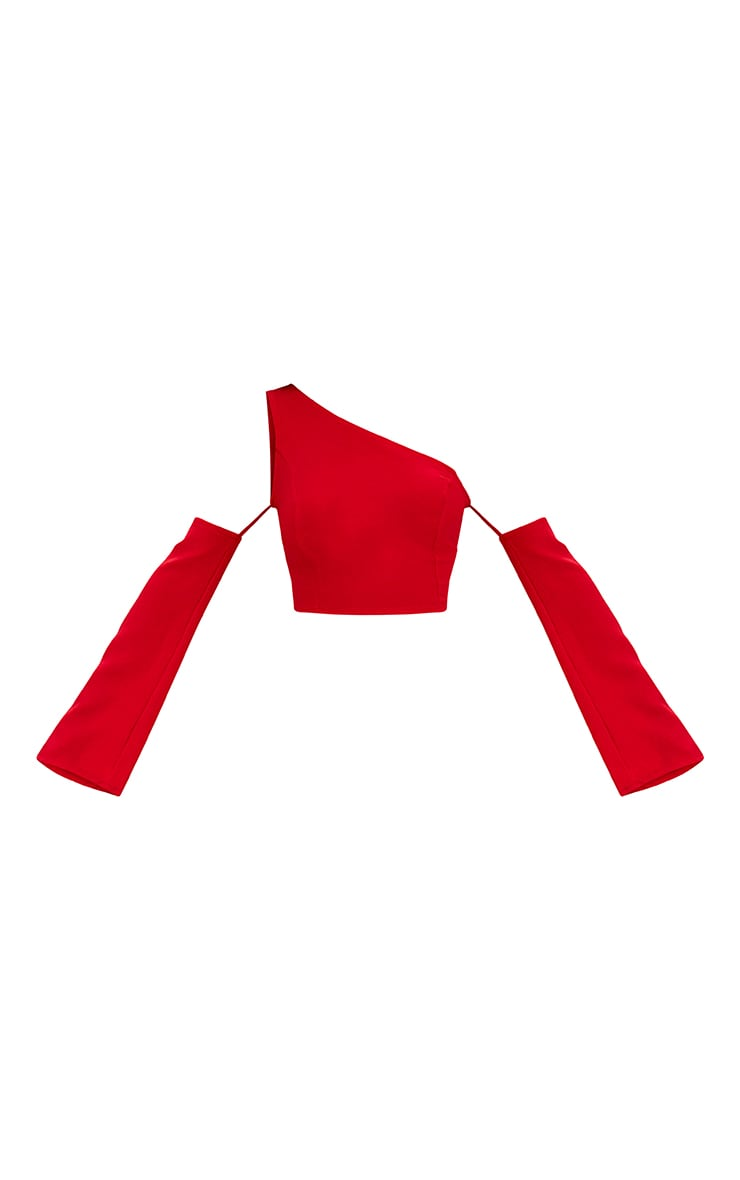 Red One Shoulder Flare Sleeve Crop Top 3