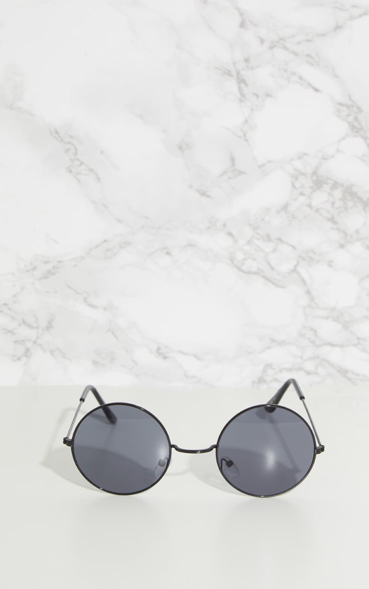 Black Round Metal Sunglasses 2