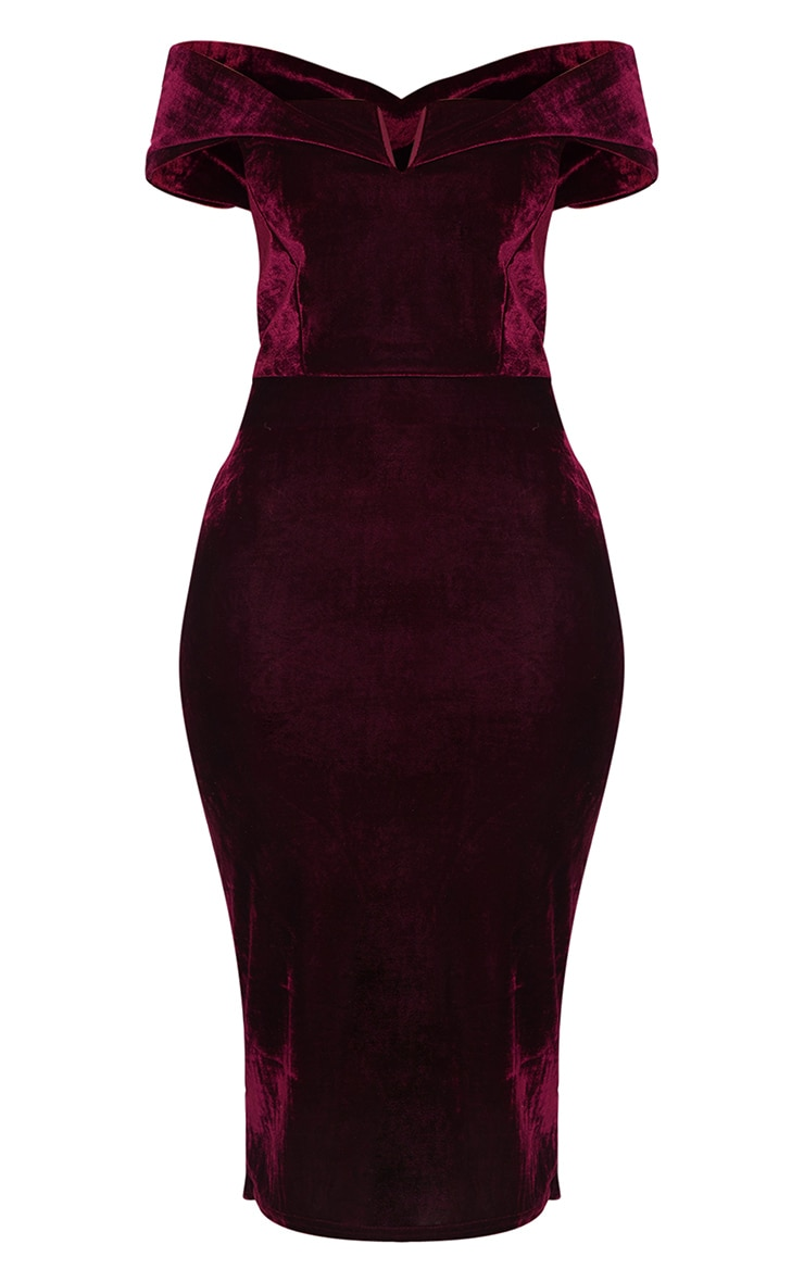 Burgundy Velvet Bardot V Bar Midi Dress 3