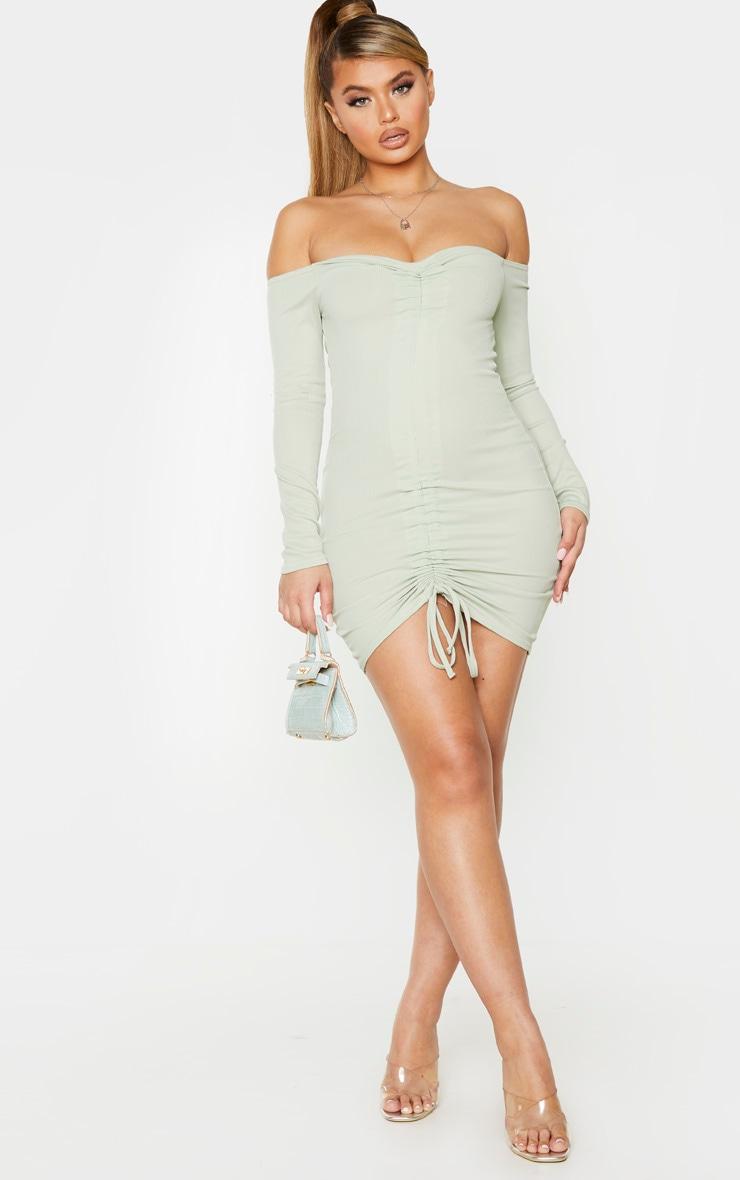 Sage Green Ribbed Long Sleeve Bardot Ruched Bodycon Dress 3