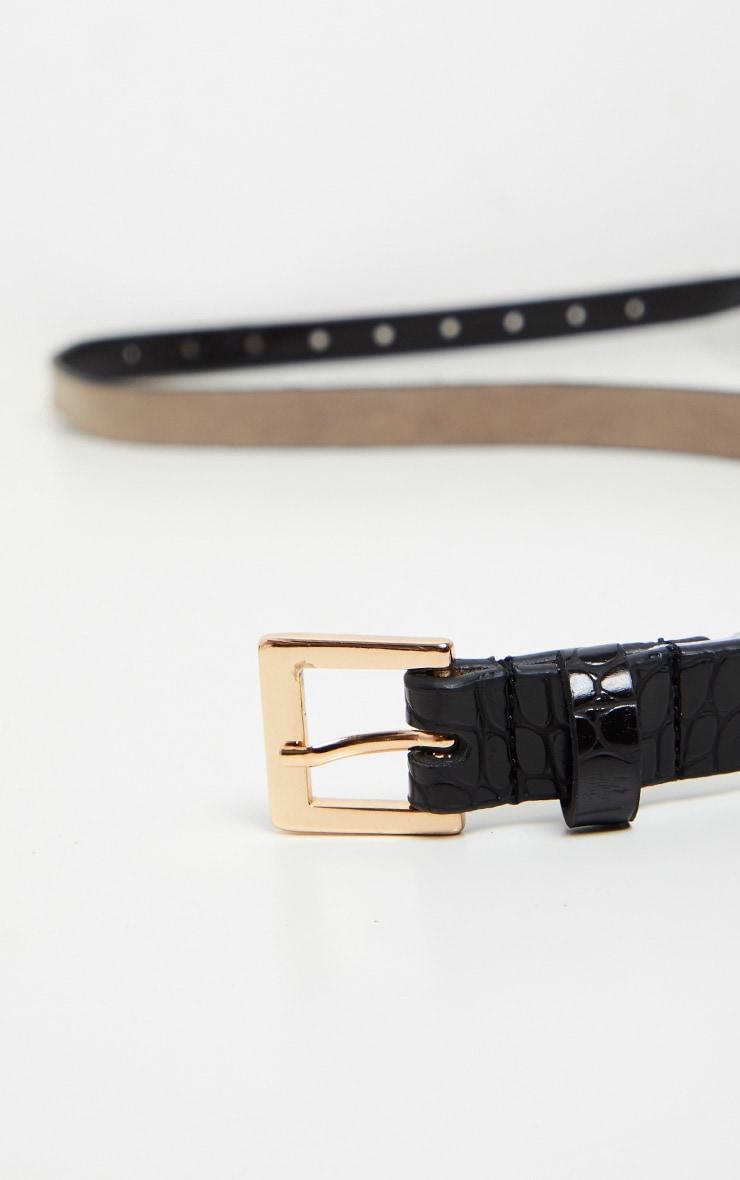 Black Croc Skinny Basic Belt 2
