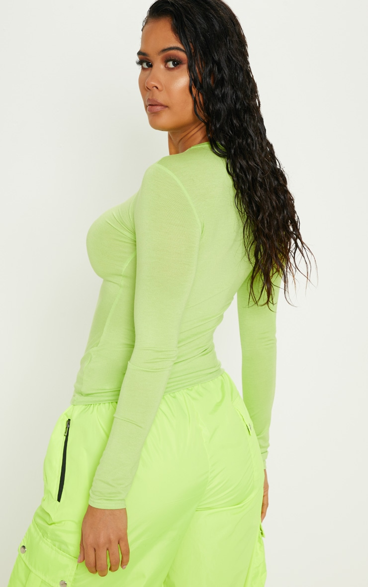 Basic Neon Lime Long Sleeve Fitted T Shirt 2