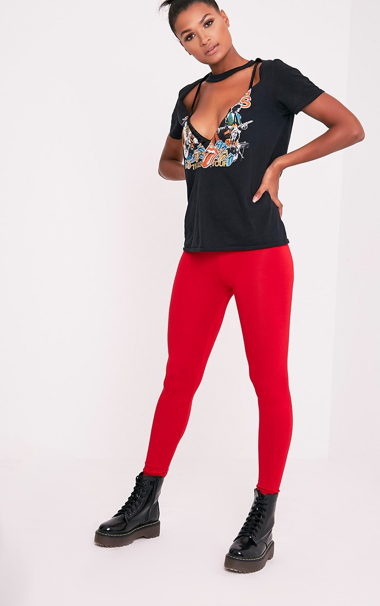 a3831eabc83f54 Basic Red High Waisted Jersey Leggings - Leggings & Hosiery ...