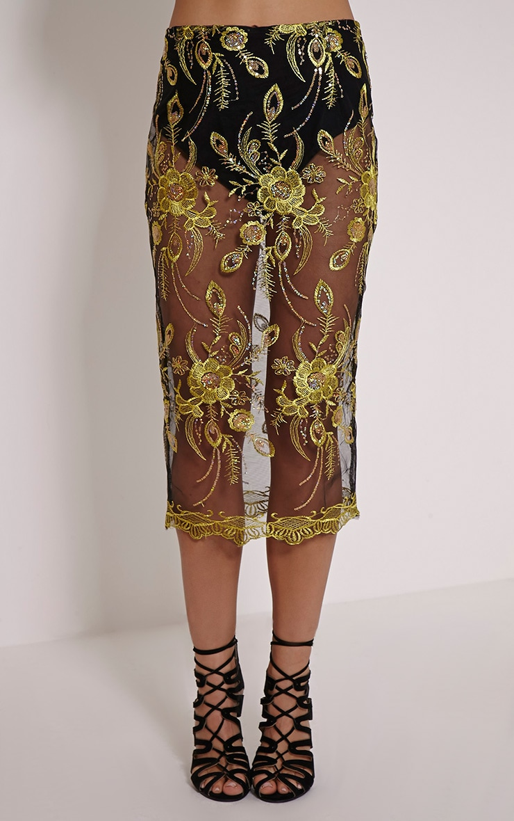 Meela Gold Floral Embroidered Mesh Midi Skirt 2