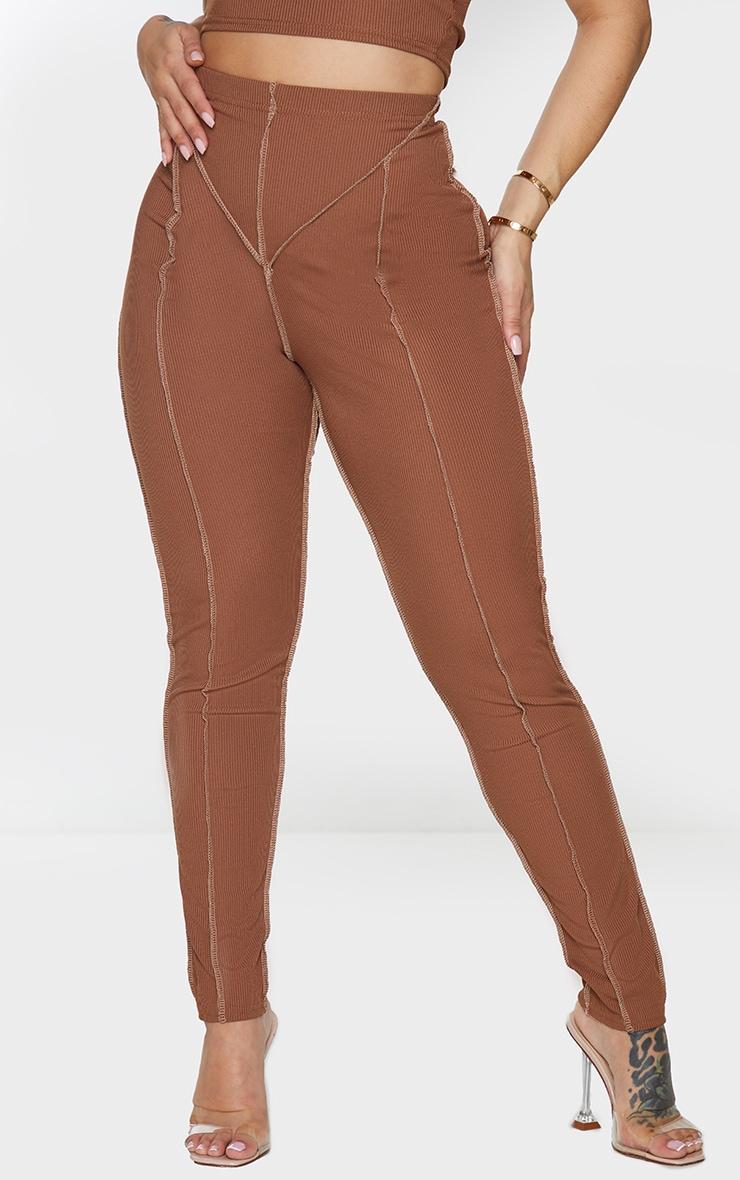 Shape Chocolate Brown Rib Contrast Stitch Detail Leggings 2