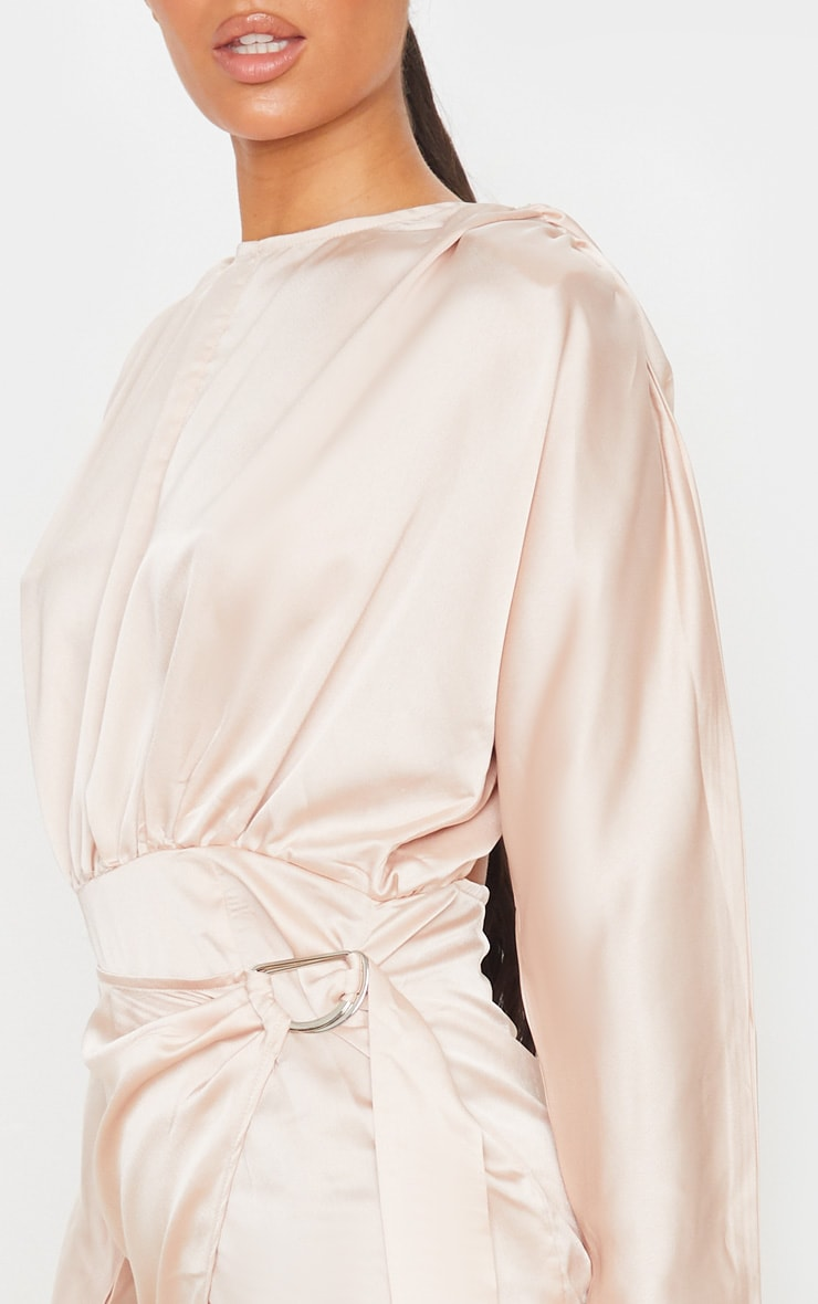 Champagne Satin Wrap Skirt Backless Midi Dress 5