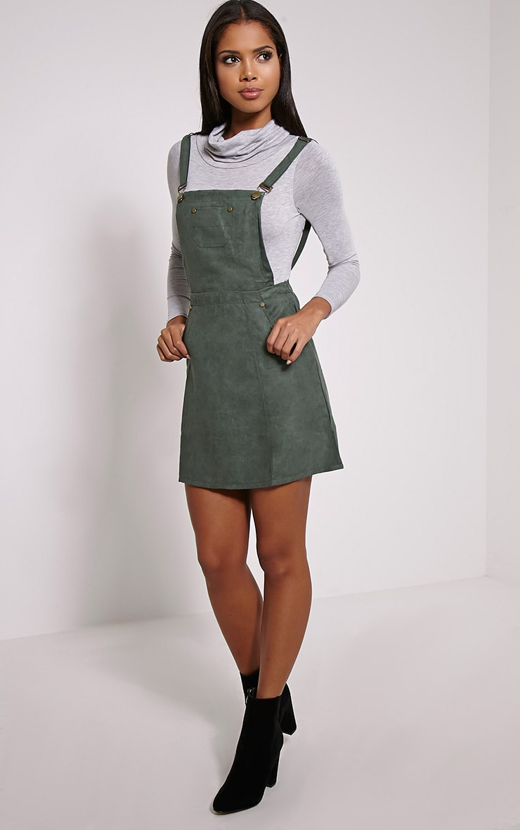 Lumie Khaki Faux Suede Pinafore Dress 3