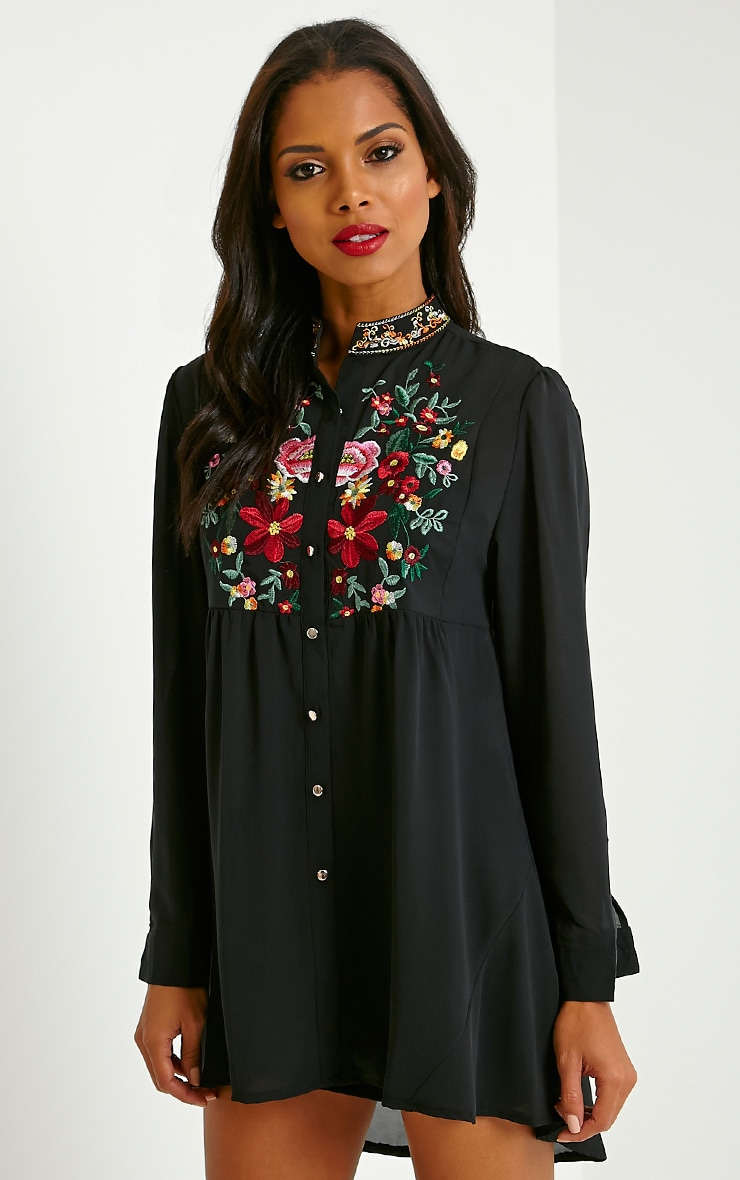 Exie Black Embroidered Sheer Shirt Dress 1