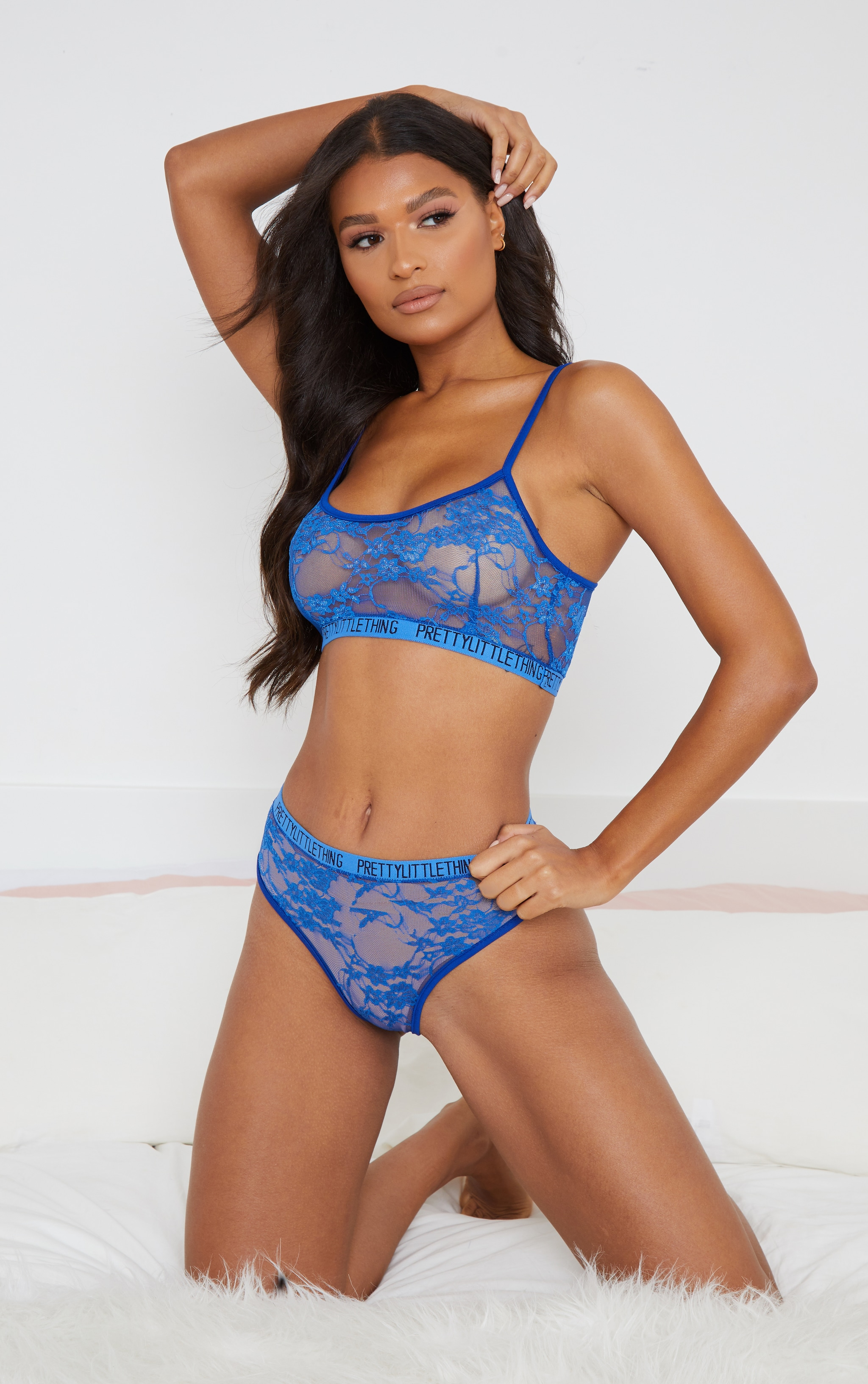 PRETTYLITTLETHING Cobalt Tape Lace Lingerie Set 1