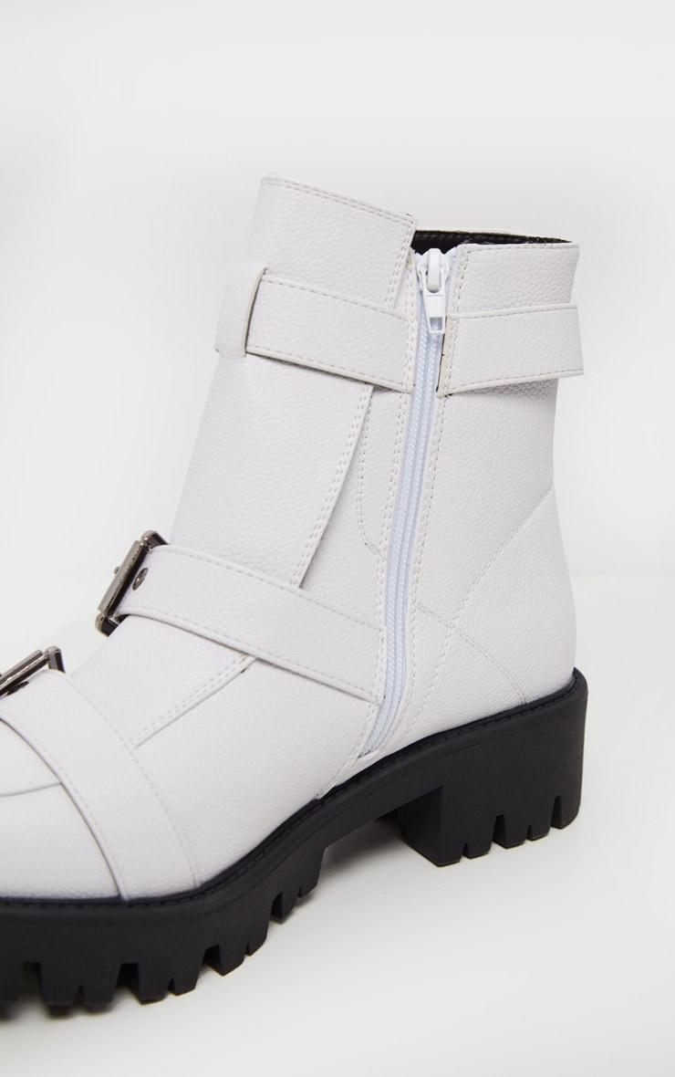 White Triple Buckle Cleated Hiker Ankle Boot 5