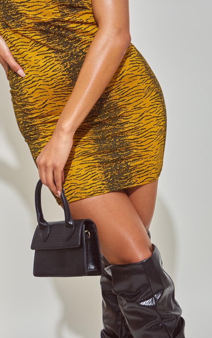 Black Croc Mini Handle Grab Bag 2