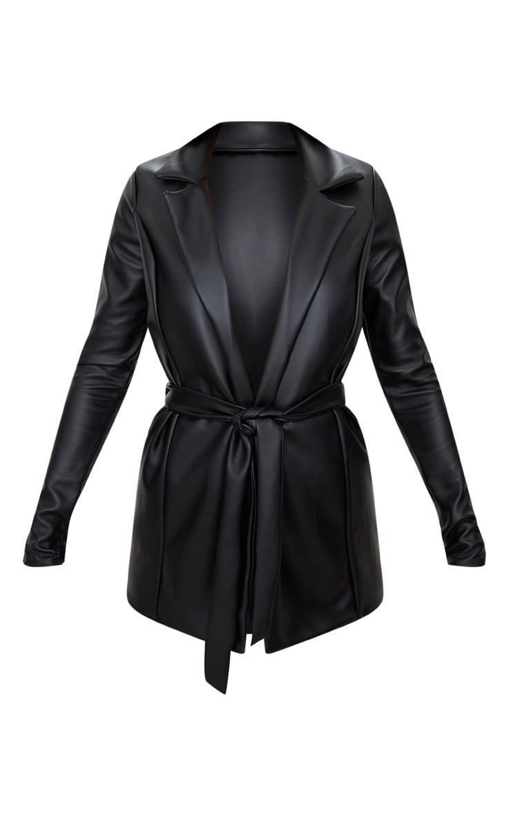Black PU Belted Blazer  3