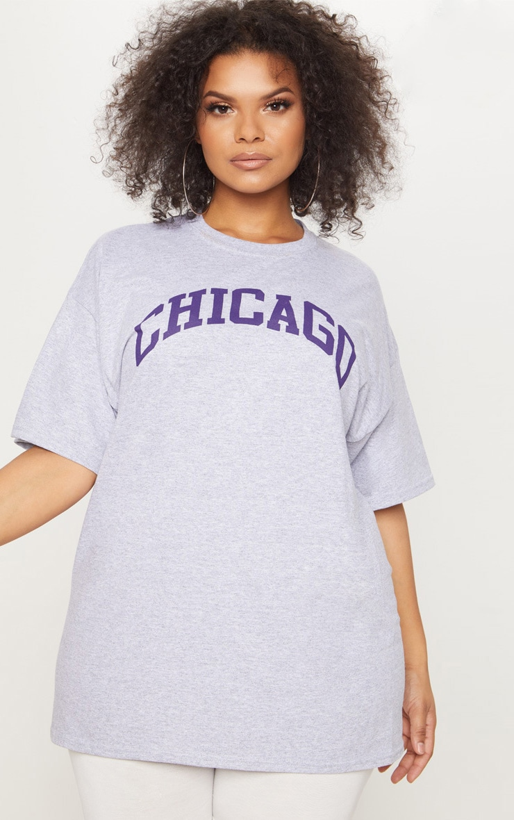 Plus Grey Chicago Slogan T Shirt 1