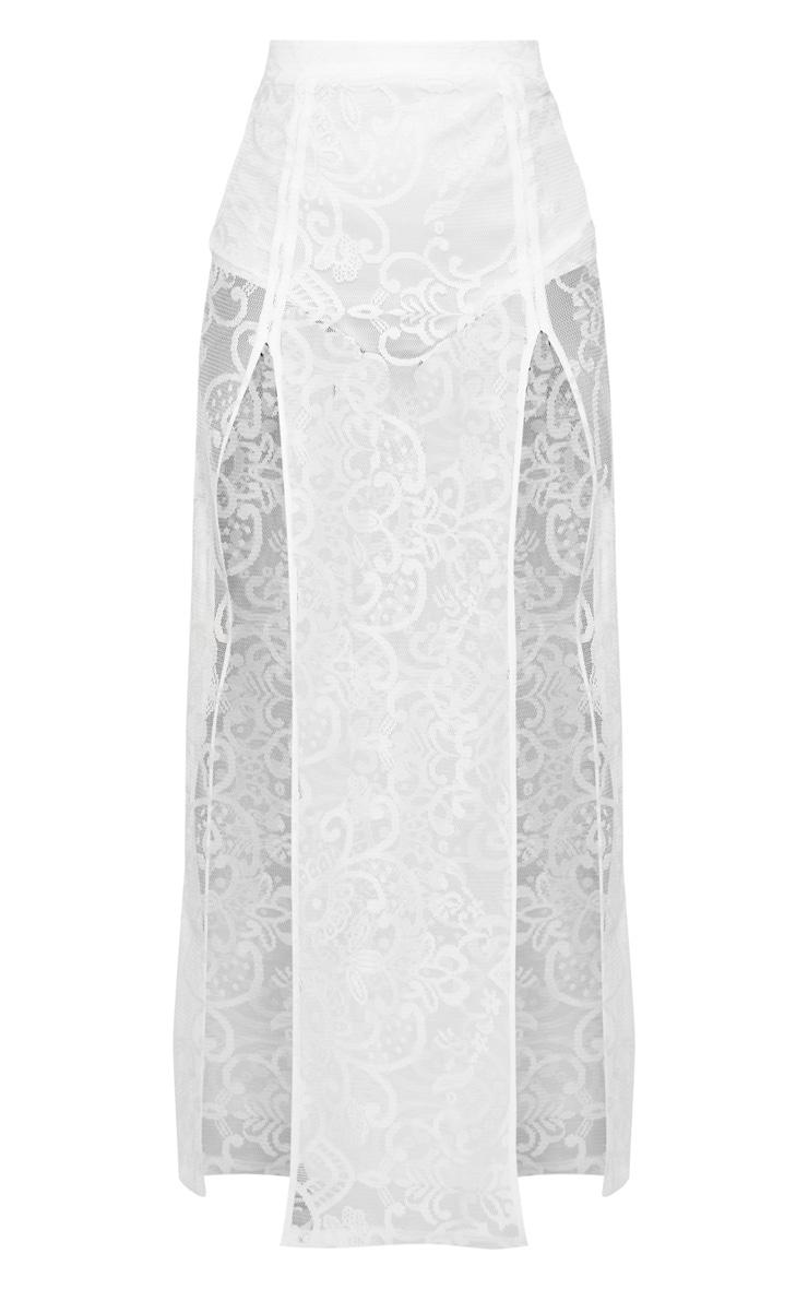 Petite White Lace Split Maxi Skirt  3