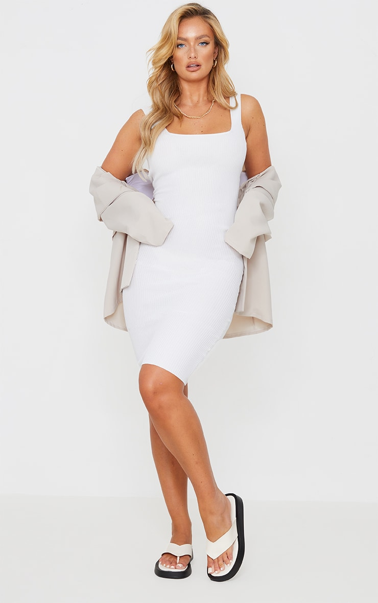White Square Neck Low Back Knitted Midi Dress image 1