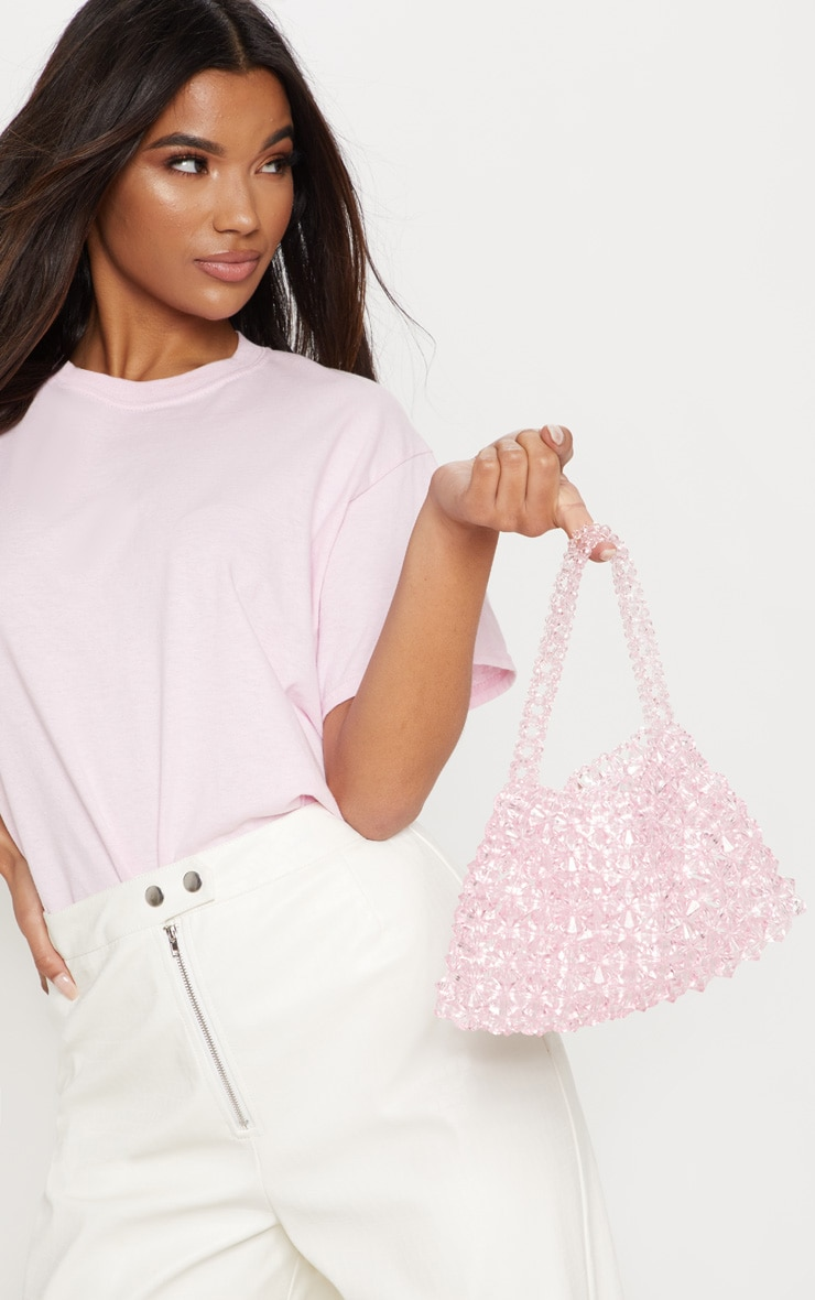 7c70307a59 Pink Beaded Hand Bag image 1