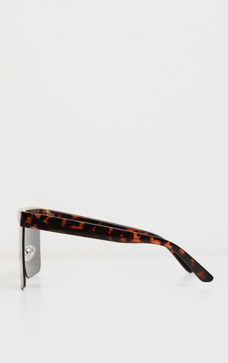 Tortoiseshell Flat Top Brow Bar Frameless Oversized Sunglasses 4