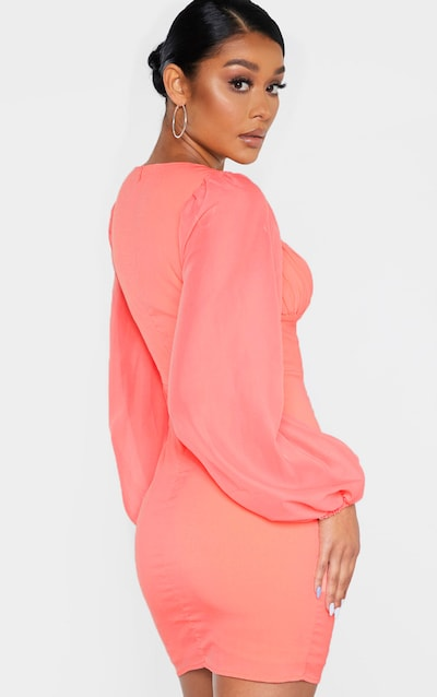 Coral Ruched Cup Chiffon Balloon Sleeve Bodycon Dress