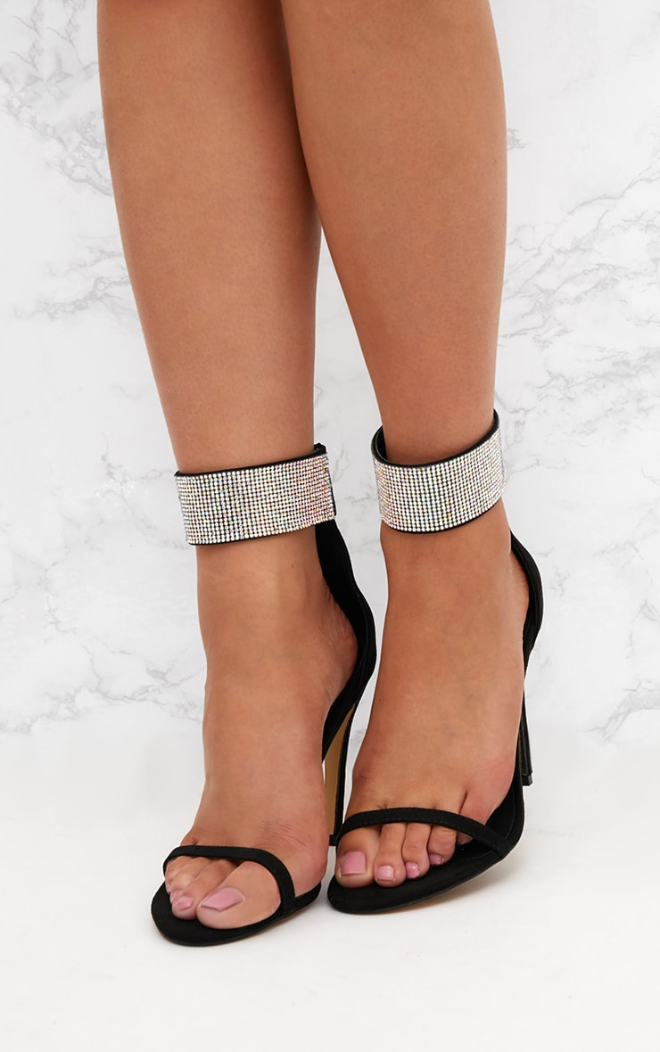 Black Diamante Cuff Heeled Sandals  2