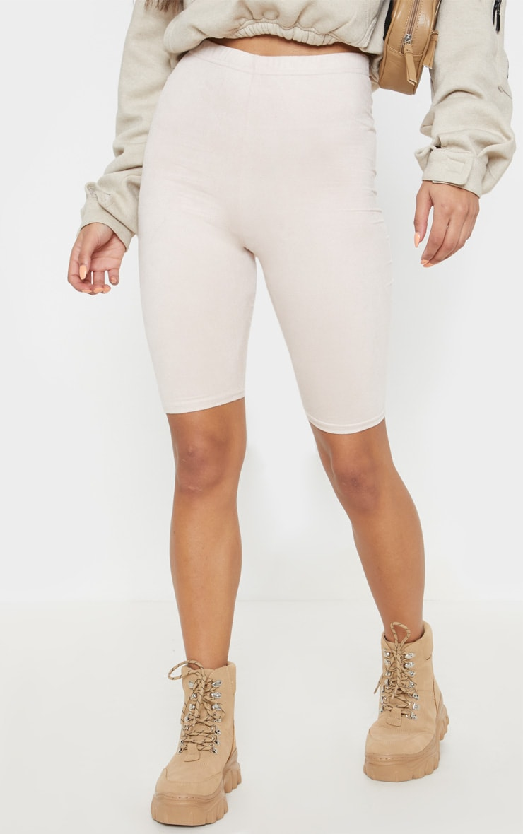 Beige Faux Suede Bike Short 2
