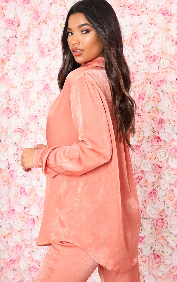 Peach Satin Oversized Shirt 2