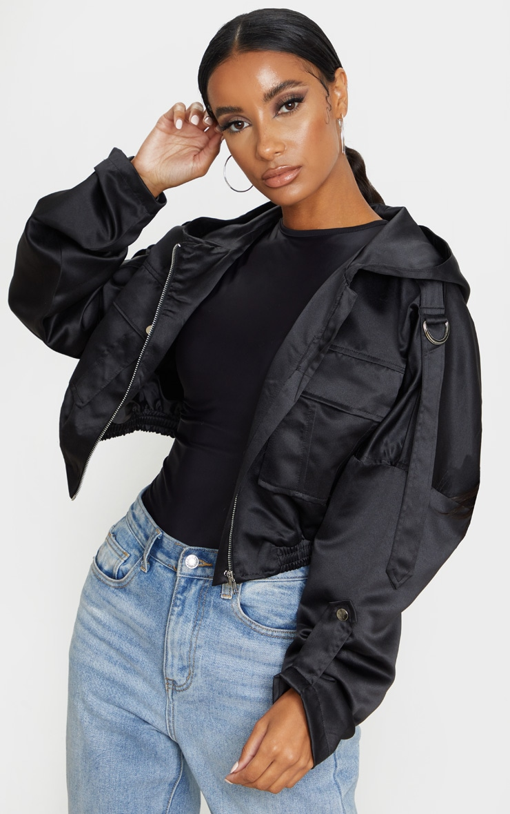 Black Satin Oversized Hooded Pocket Bomber Jacket 1