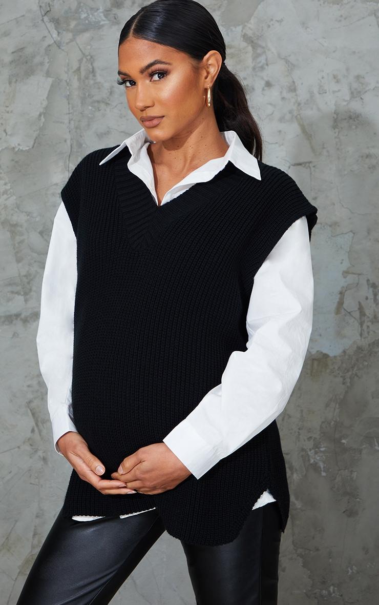 Maternity Black V Neck Knitted Side Split Vest 1