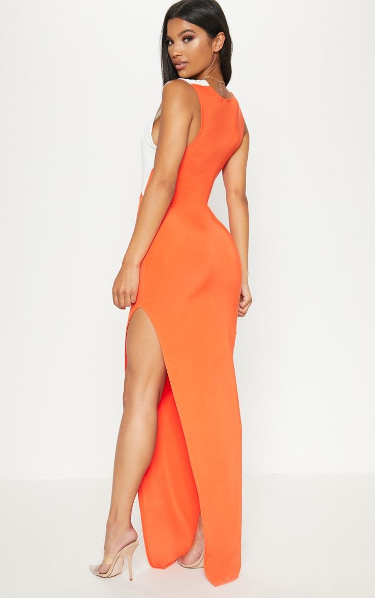 Tangerine Contrast Detail Extreme Split Maxi Dress 2