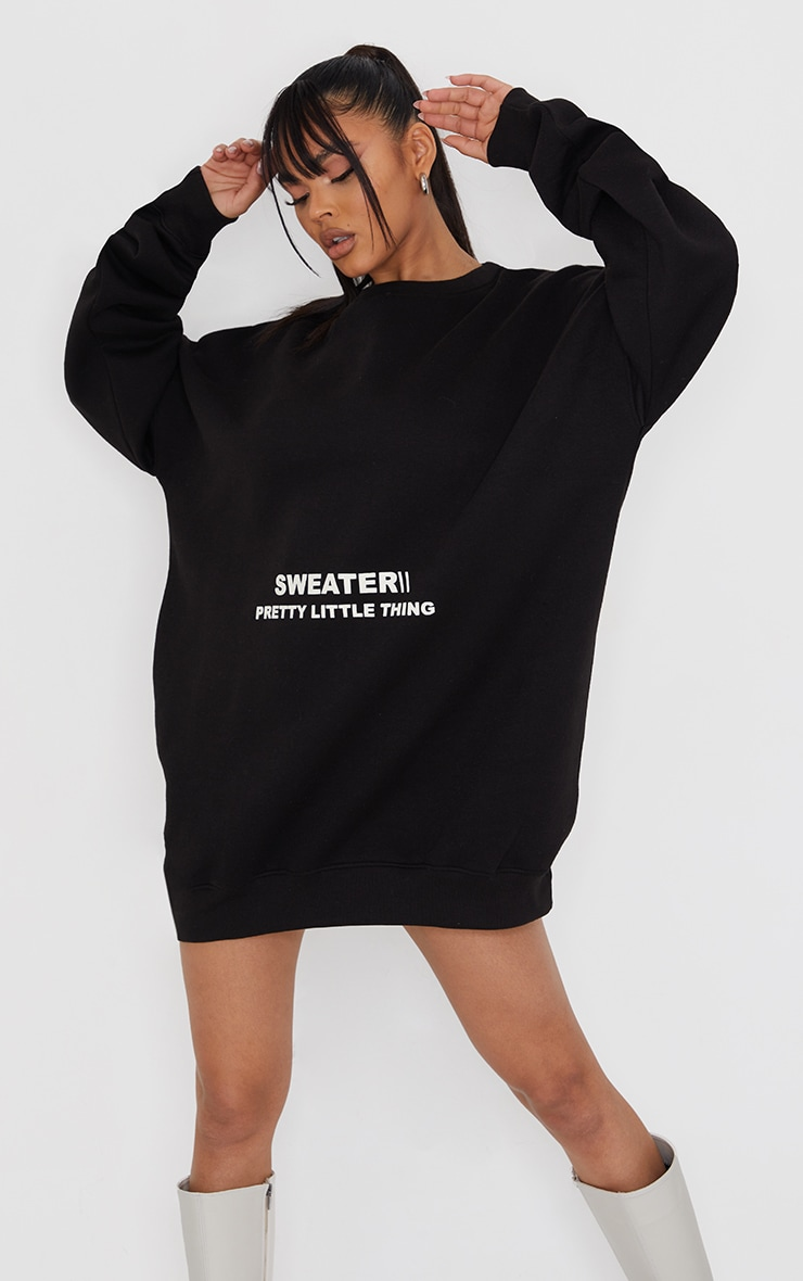 PRETTYLITTLETHING Black Oversized Sweater Jumper Dress 1