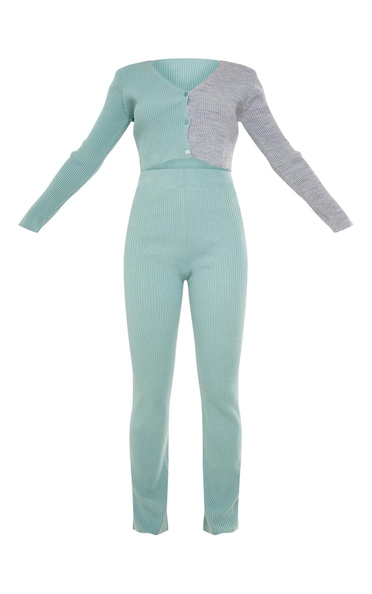 Sage Green Colour Block Knitted Wide Leg Cardigan Set 5