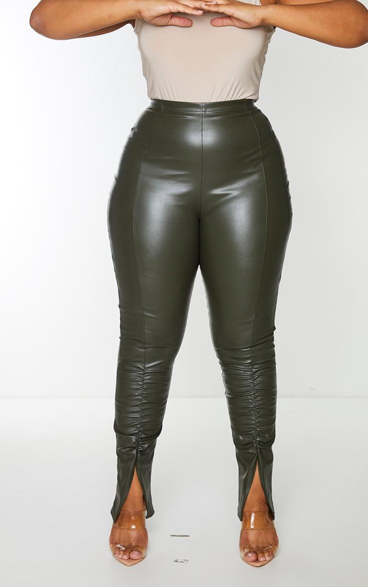 Plus Khaki PU Ruched Pants 5