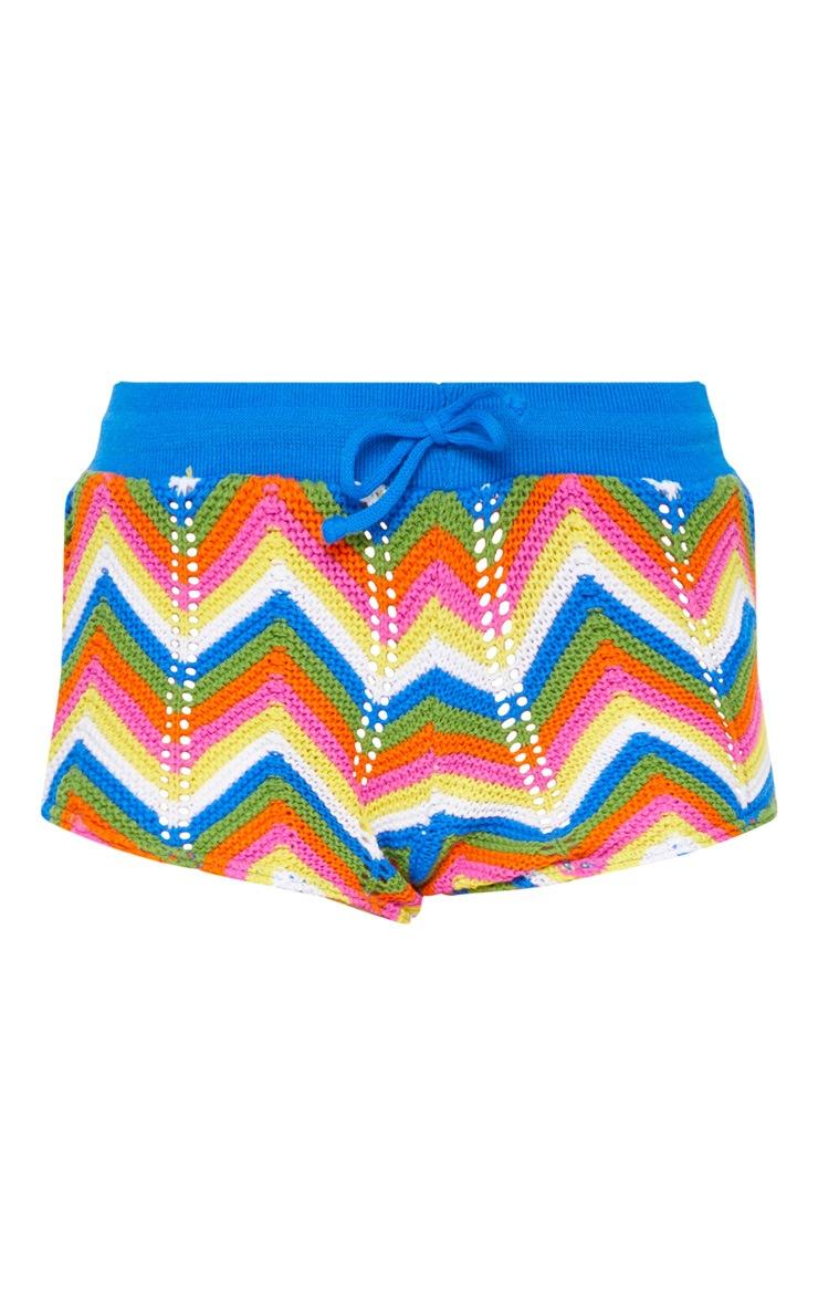 Multi Coloured Zig Zag Crochet Shorts 3