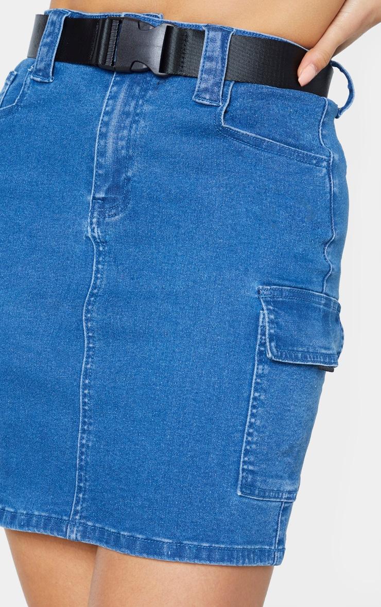 Tall Mid Wash Cargo Pocket Belted Denim Skirt 6