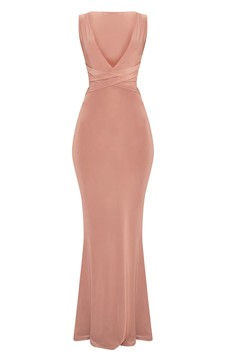 Maci Dusty Rose Double Wrap Slinky Maxi Dress 3
