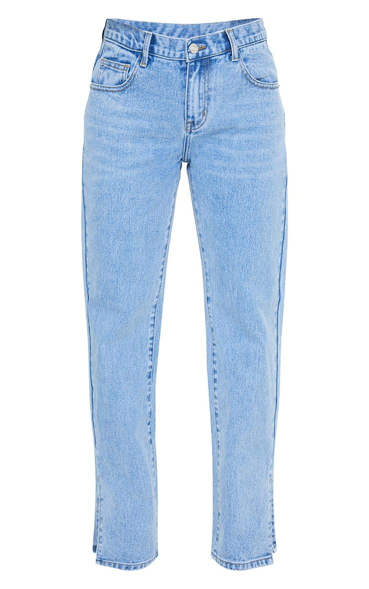 Petite Light Blue Low Rise Split Hem Jeans 5