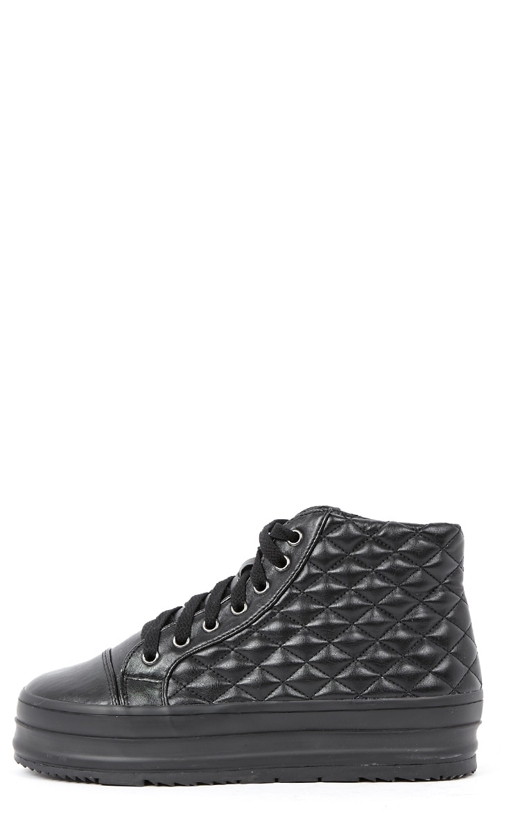 Naomi Black Quilted Leather Plimsolls 1