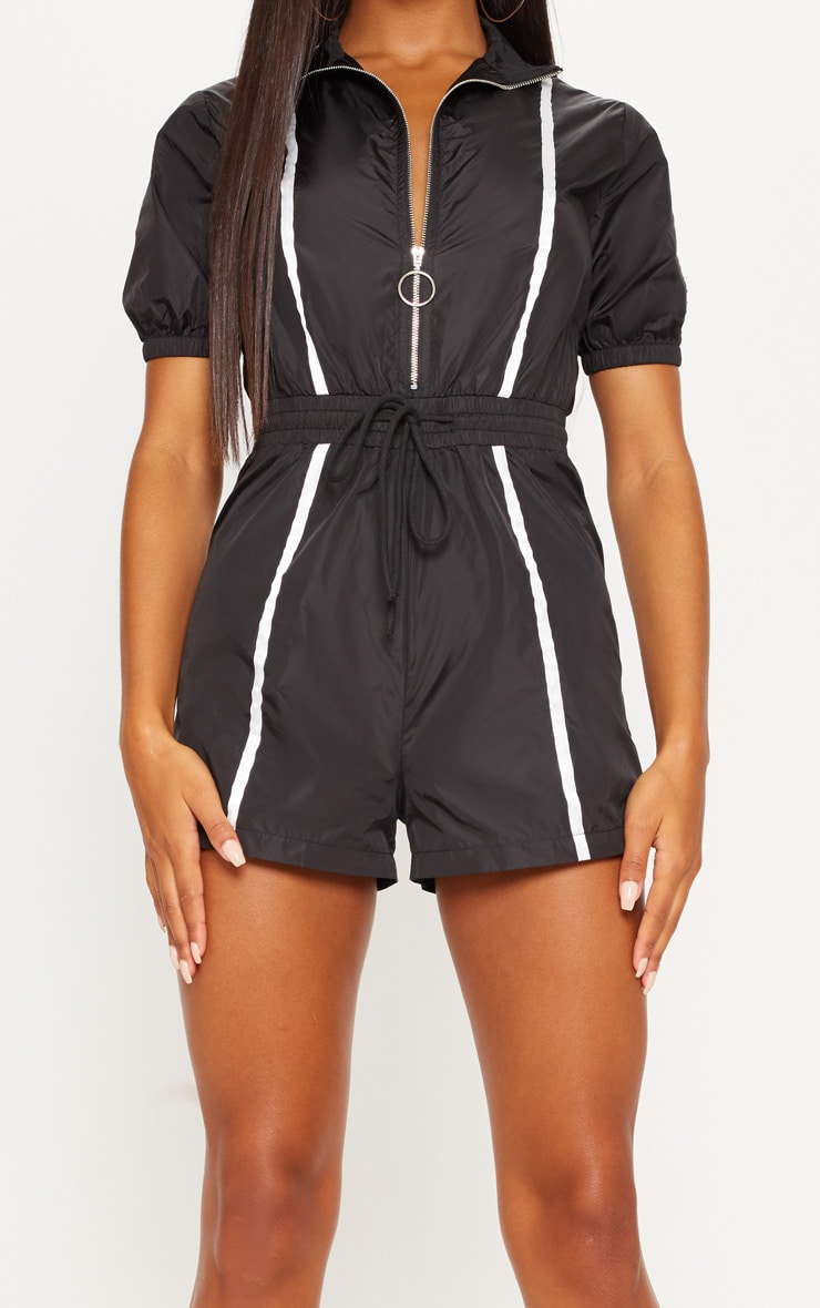 Monochrome Shell Zip Up Playsuit  4