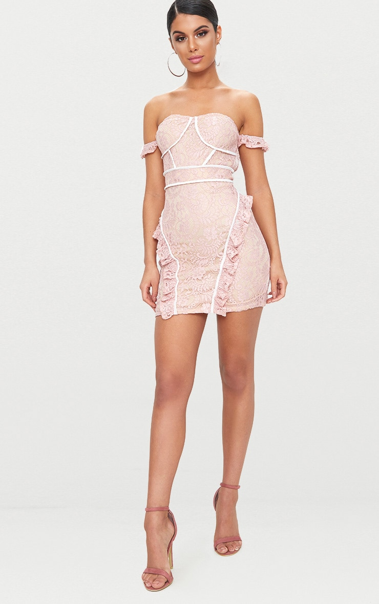Dusty Pink Lace Contrast Arm Cuff Bodycon Dress  4