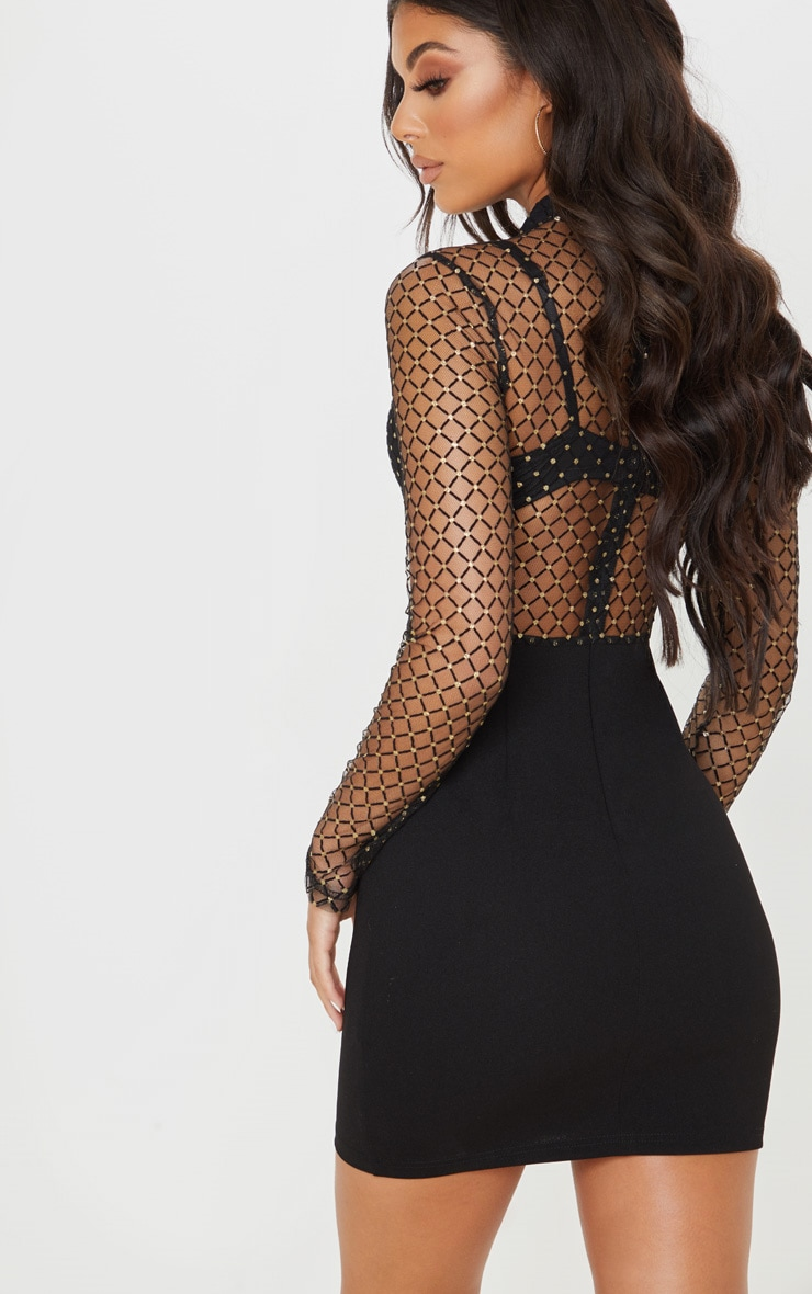Black Criss Cross Mesh Top Bodycon Dress 2