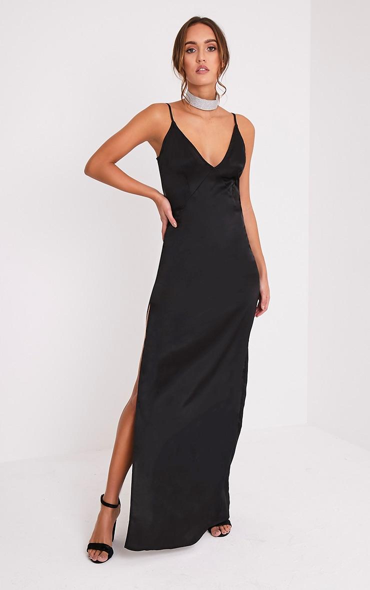 Carsia Black Silky Cami Slip Maxi Dress 5