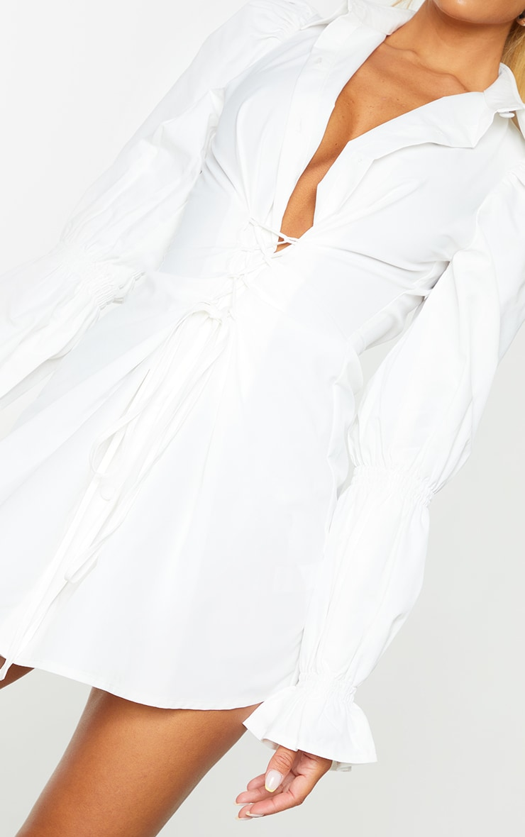 White Lace Up Detail Shirred Sleeve Shirt Dress 4