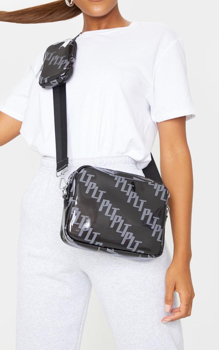 PRETTYLITTLETHING Black Multi Pocket Cross Body Bag 1