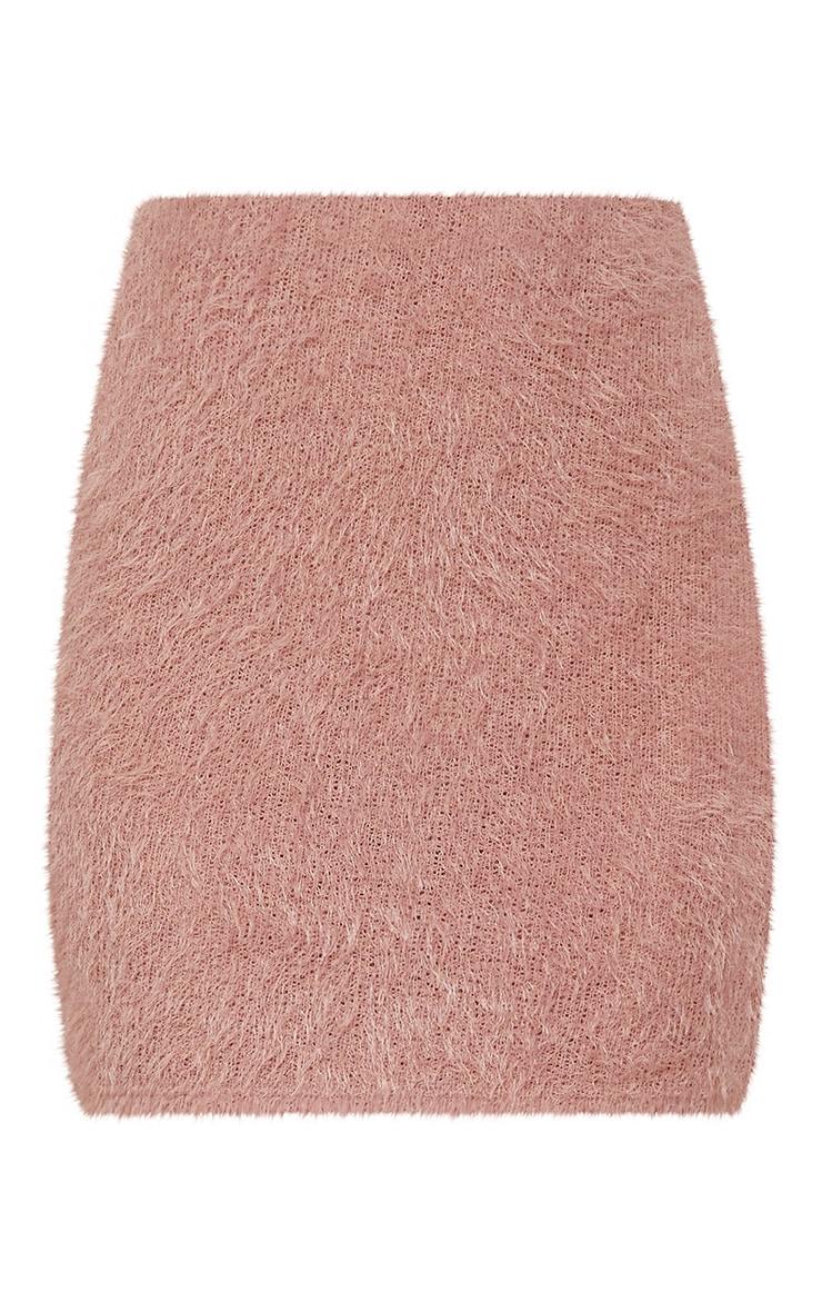 Pink Eyelash Fluffy Knit Skirt 3