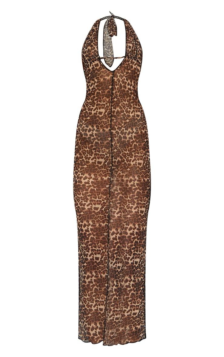 Brown Leopard Print Sheer Mesh Halterneck Tie Back Maxi Dress 5