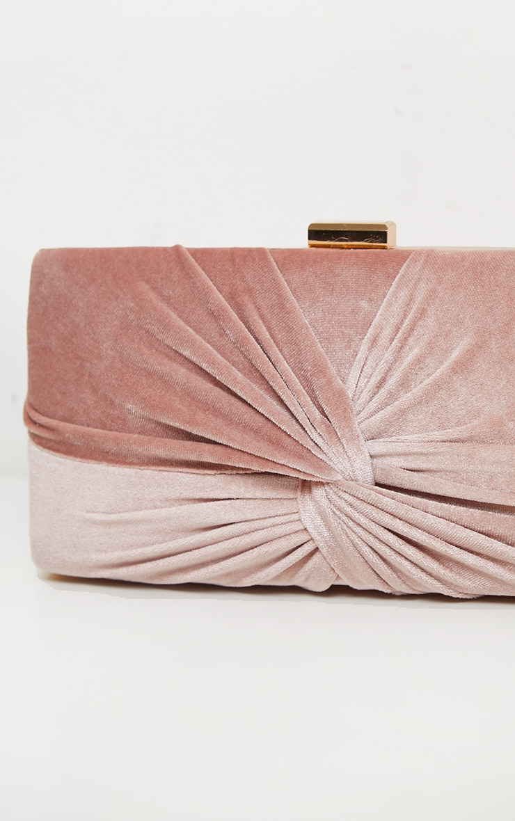 Blush Velvet Knotted Front Box Clutch   3