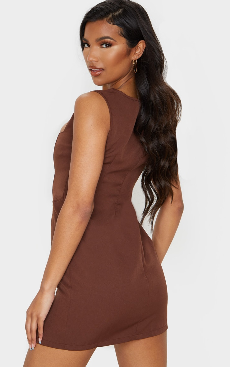 Chocolate Brown Sleeveless Corset Detail Bodycon Dress 2
