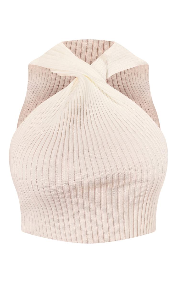 Plus Cream Knit Cross Front Crop Top 5